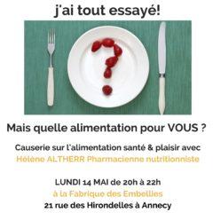 Ce soir, lundi 14 mai à Annecy : «Mais quelle alimentation pour vous ?»