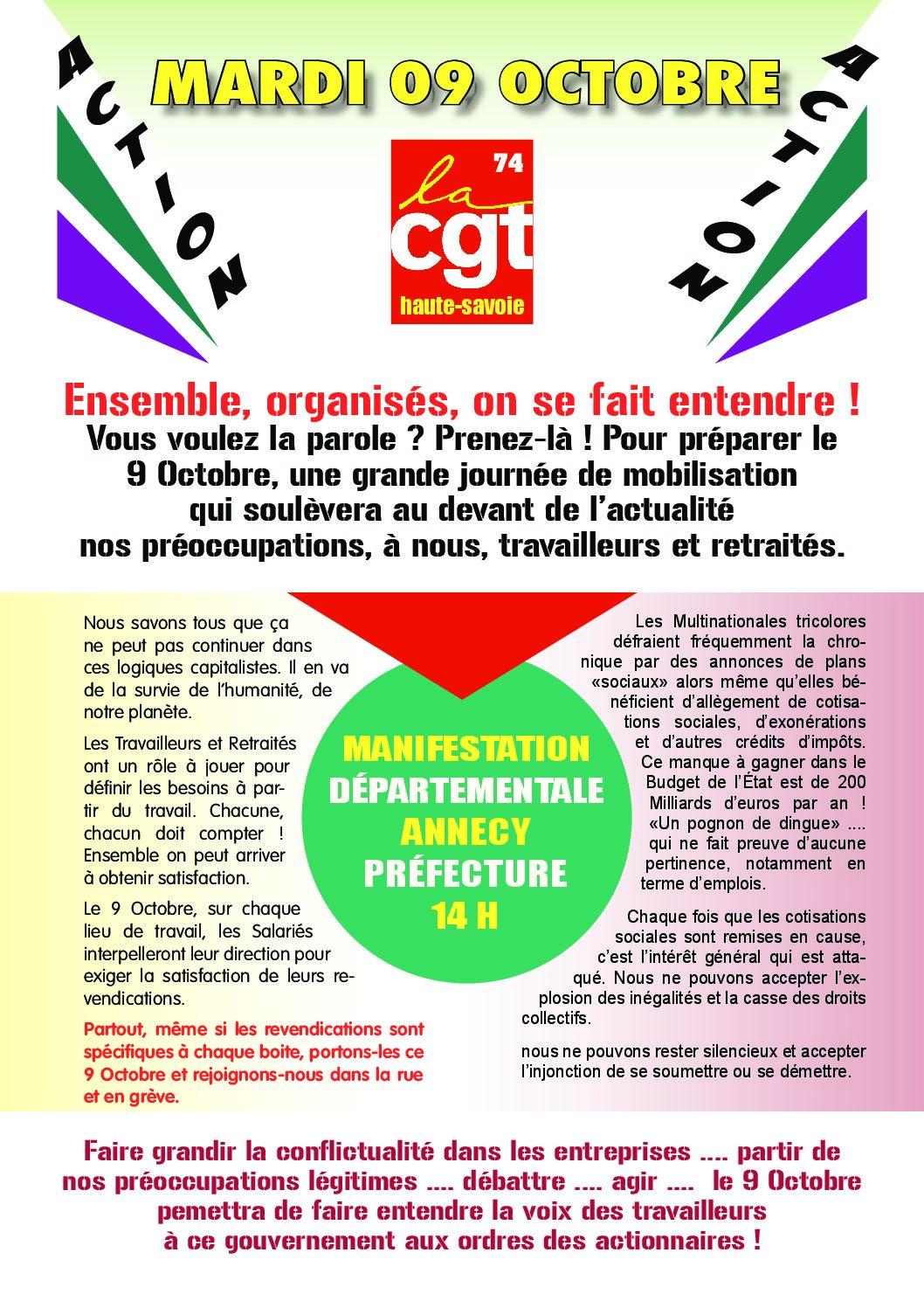 Ce mardi 9 octobre mobilisations contre la politique antisociale du gouvernement
