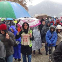 À Annecy, teintés de jaune, entre 1000 et 1500 marcheurs pour le climat