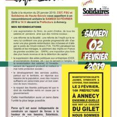 Samedi 2 février à Annecy, manifestation unitaire, syndicats, gilets jaunes, citoyens