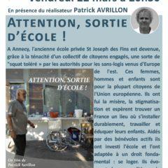 Ce vendredi 22 mars à la Turbine, un film de Patrick Avrillon sur l'accueil des migrants dans le squat de l'école St Joseph à Annecy