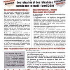Les retraités seront dans la rue le jeudi 11 avril à Annecy