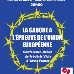 Demain 3 mai à Annemasse : la gauche à l'épreuve de l'Union Européenne, débat organisé par attac