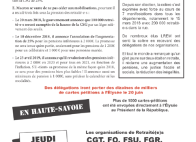 Jeudi 20 juin à 11h salle du Vernay à Cran conférence de presse de l'intersyndicale des retraité-e-s ouverte au public