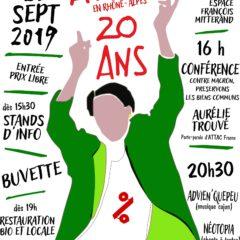 Les 20 ans d'ATTAC, c'est ce samedi 28 septembre à Montmélian (Savoie)