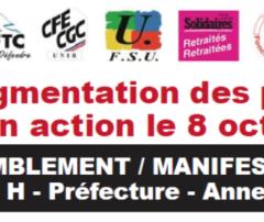 Mardi 8 octobre, les retraités dans la rue à Annecy pour demander i'augmentation des pensions