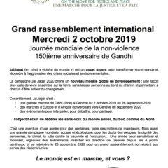 Mercredi 2 octobre à Annecy, rassemblement JAIJAGAT pour la journée mondiale de la non-violence