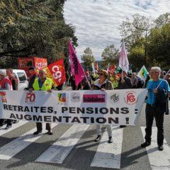 Les retraités dans la rue pour l'augmentation des retraites et des pensions.