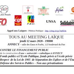 Meeting laïque à Annecy jeudi 12 mars 19h salle des Eaux et Forêts