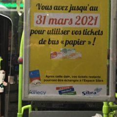 SIBRA: Le 31 mars, fin des tickets papiers dans les bus !